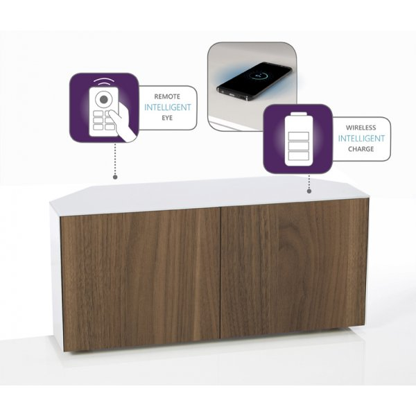 "Frank Olsen Intel 1100 Corner TV Cabinet For TVs Up To 55\"" - White/Walnut"