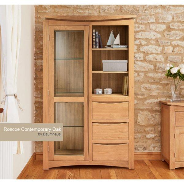 Baumhaus Roscoe Contemporary Oak Glazed Display Cabinet