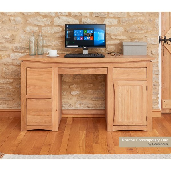 Baumhaus Roscoe Contemporary Oak Home Office Desk