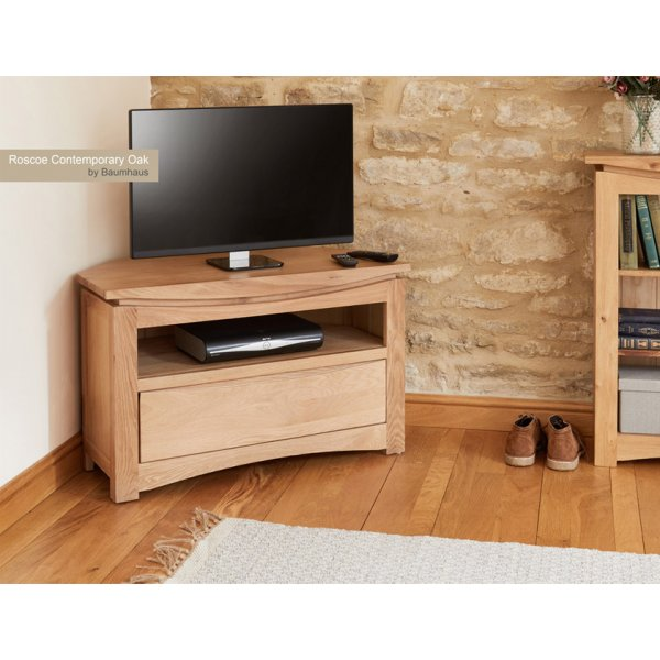 Baumhaus Roscoe Contemporary Oak Corner TV Stand