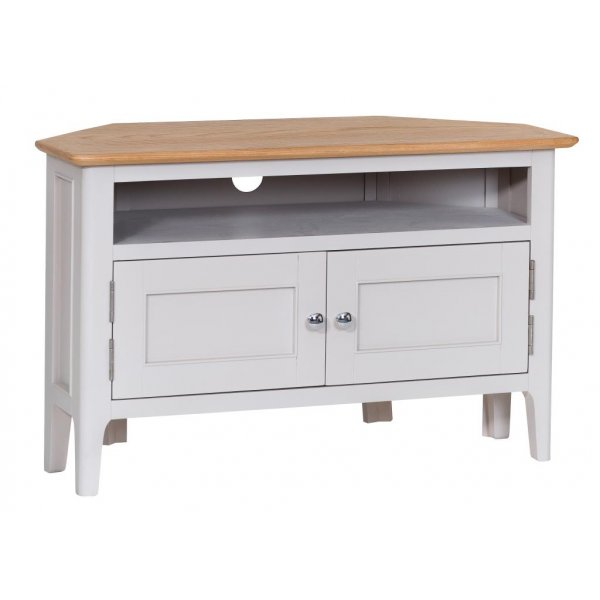 Ultimum Pennine Corner TV Cabinet in White/Oak