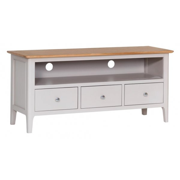 Ultimum Pennine Large TV Cabinet in White/Oak