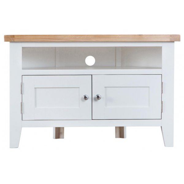 Ultimum Grasmere Corner TV Cabinet in White/Oak