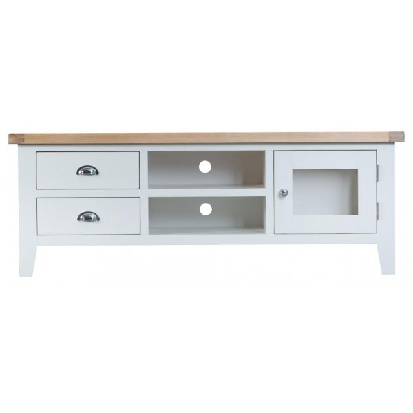 Ultimum Grasmere Large TV Cabinet in White/Oak