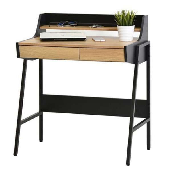 Selsey Desk Borr with a Topboard and Drawers - Black/Oak