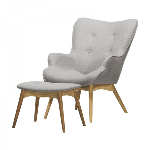 Selsey Blomster Stylish Armchair with a footstool - Grey Fireproof Fabric