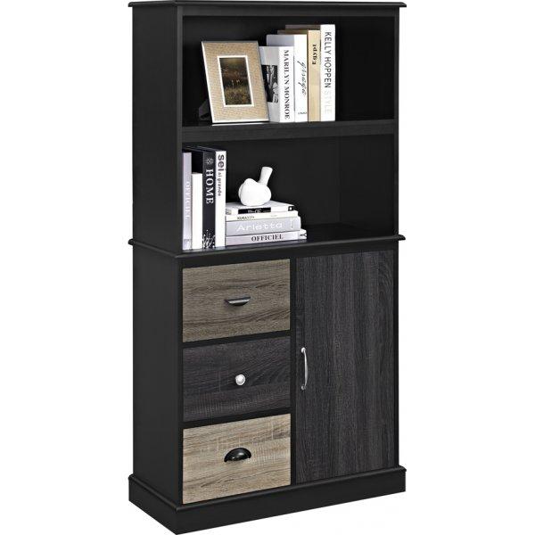 Alphason Mercer Storage Bookcase - Black