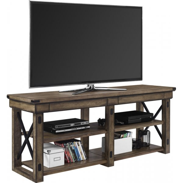 "Dorel Wildwood Wood Veneer TV Stand For 65"" - Rustic Grey"