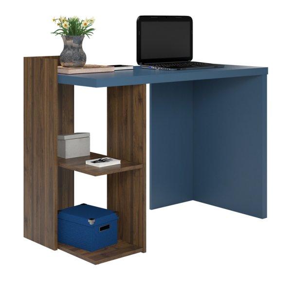 Dorel Xavier Computer Desk - Walnut/Blue