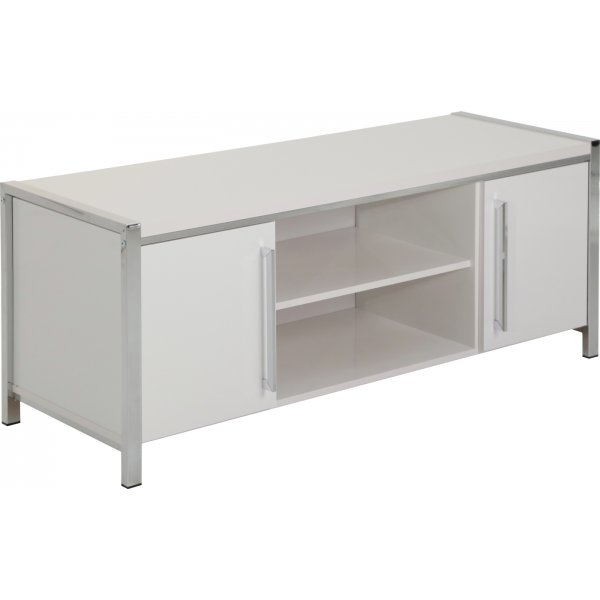 Valufurniture Charisma 2 Door 1 Shelf Flat Screen TV Unit - White Gloss/Chrome
