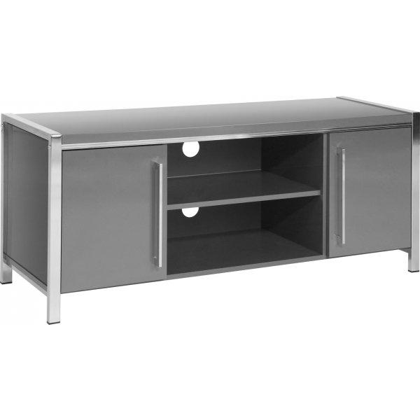 Valufurniture Charisma 2 Door 1 Shelf Flat Screen TV Unit - Grey Gloss/Chrome