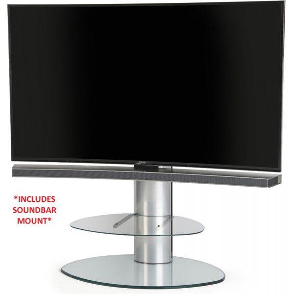 Off The Wall Motion Cantilever TV Stand In Clear with Soundbar Bracket