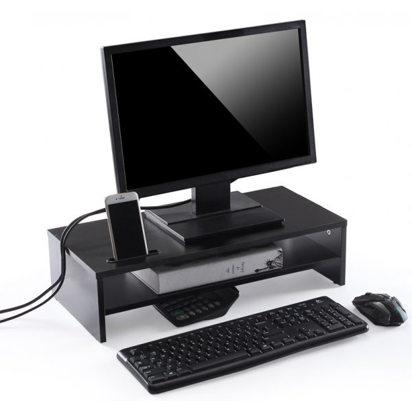 TTAP MP1002 Double Wooden Monitor Riser - Black