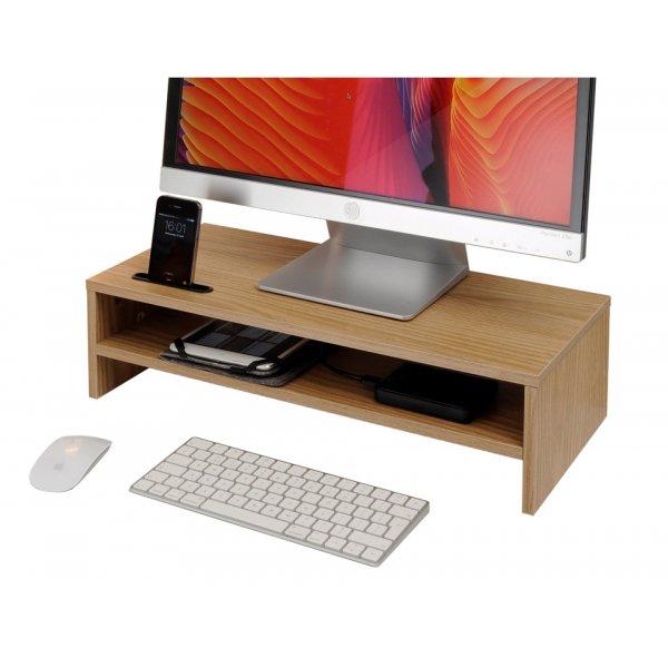 TTAP MP1009 Wooden Double Monitor Riser - Oak