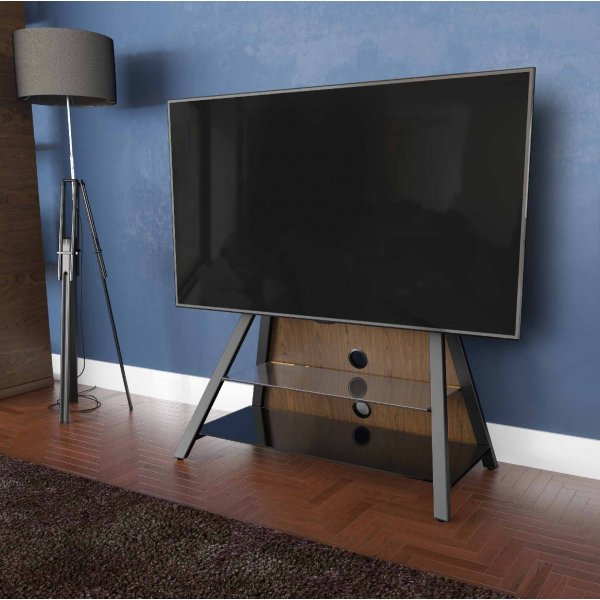 """AVF Options EASL925A Easel Cantilever TV Stand For Up To 65\"""" TVs - Walnut"""