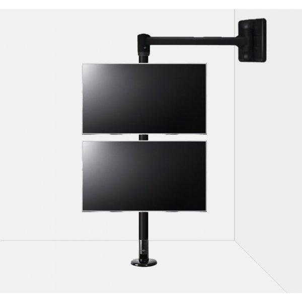 """B-Tech Floor to Wall Swivel Arm Mount for up to 2x 50\"""" TVs - 2m Pole - Black"""