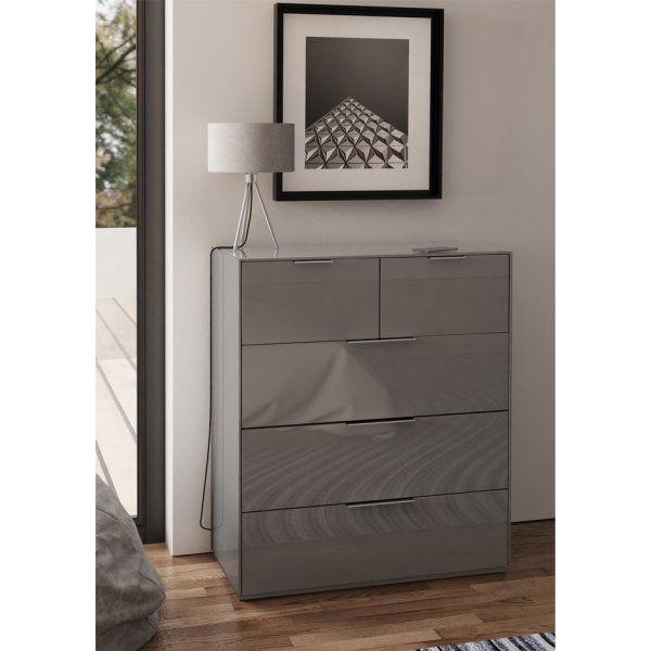 Frank Olsen INTEL PURE High Gloss Grey Large Chest of Drawers
