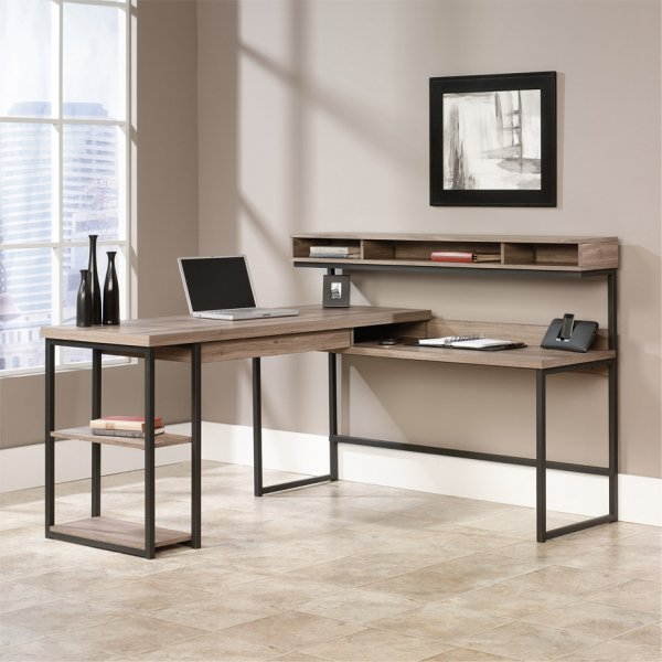 DSK Streamline L-Shaped Salt Oak Desk