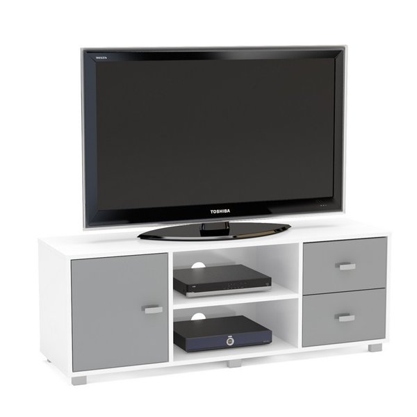 "TNW Hyde TV Stand Unit for TVs up to 65"" - White/Grey"