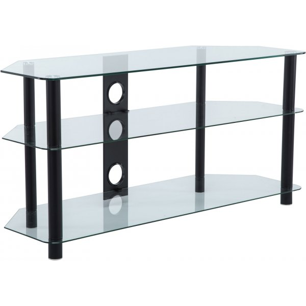 Ultimate Mounts 1000mm Clear Glass & Black Legs TV Stand for TVs up to 50""