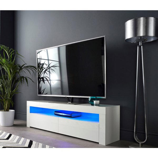 """MMT SMT-BRG1550 White Gloss TV Cabinet For 60\"""" TVs - With LED Lighting"""