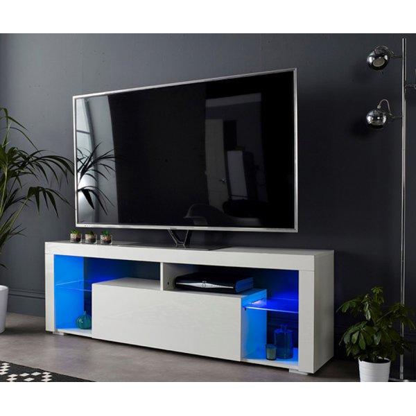 "MMT SMT-BASS1600 White Gloss TV Cabinet For 60"" TVs - With LED Lighting"