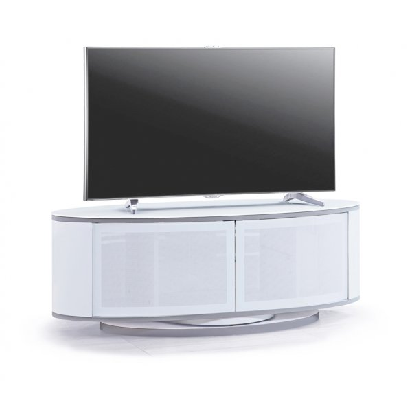 MDA LUNA High Gloss White Oval TV Cabinet Stand