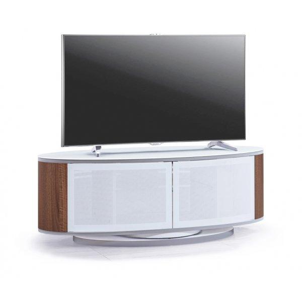 MDA LUNA High Gloss White/Walnut Oval TV Cabinet Stand