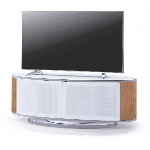 MDA LUNA High Gloss White/Oak Oval TV Cabinet Stand