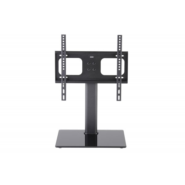 """TTAP TT44F Universal Black Glass Replacement Tabletop Pedestal TV Stand for up to 55\"""" TVs - Fixed"""