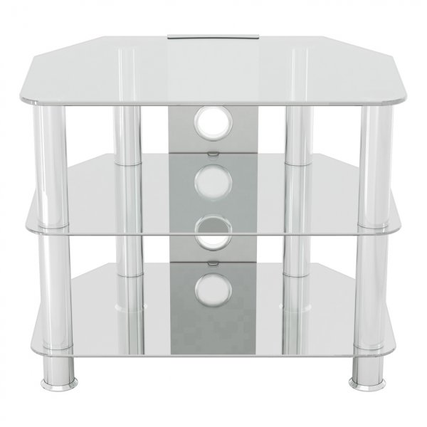 """AVF SDC600 Shaped Universal Clear & Chrome TV Stand For Up To 32\"""""""