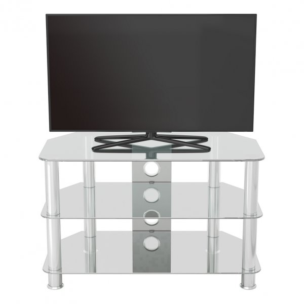 """AVF SDC800 Shaped Universal Clear & Chrome TV Stand For Up To 42\"""""""