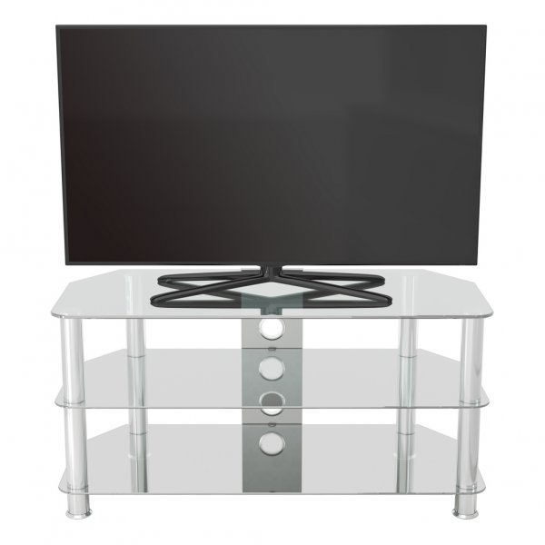 AVF SDC1000 Shaped Universal Clear & Chrome TV Stand For Up To 50""