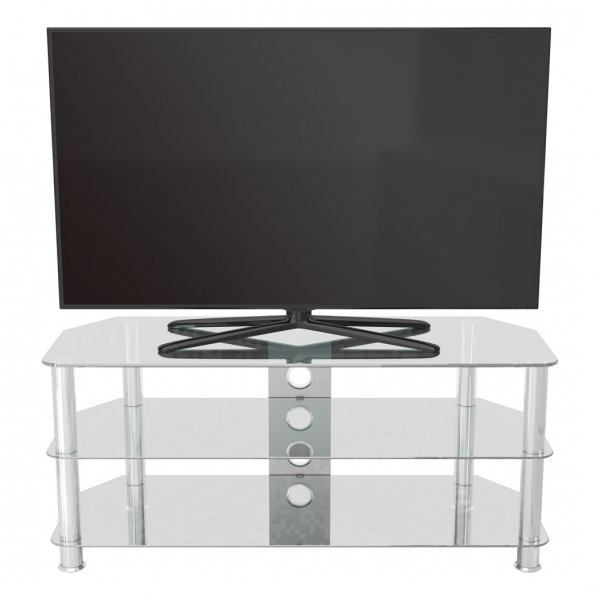 """AVF SDC1140 Shaped Universal Clear & Chrome TV Stand For Up To 55\"""""""