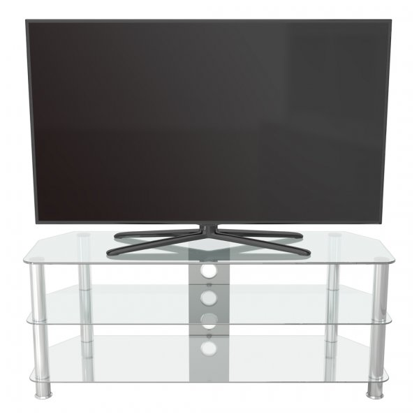 """AVF SDC1250 Shaped Universal Clear & Chrome TV Stand For Up To 60\"""""""