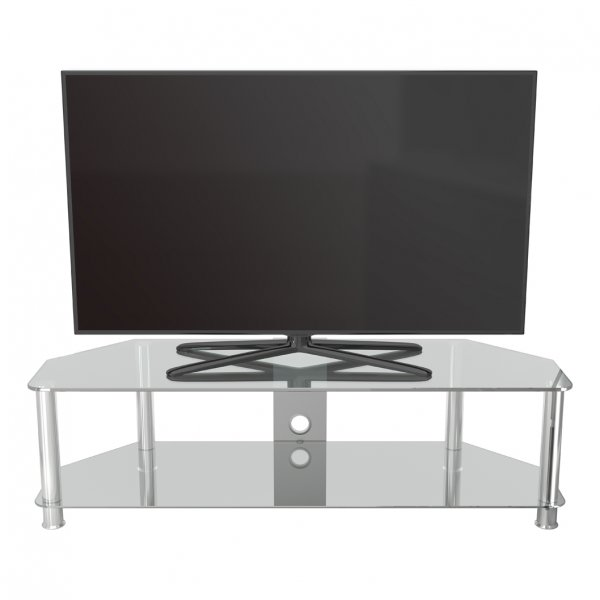 AVF SDC1400 Shaped Universal Clear & Chrome TV Stand For Up To 65""