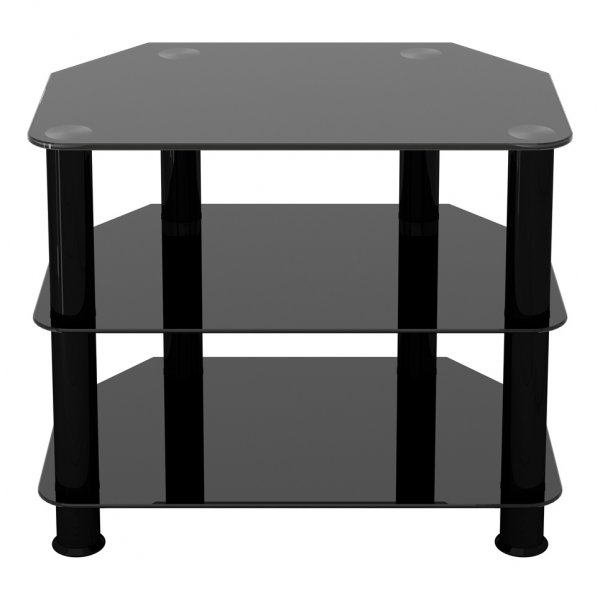 """AVF Universal Black Glass and Black Legs TV Stand For up to 32\"""" TVs"""