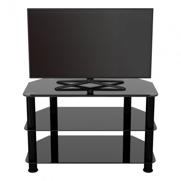 """AVF Universal Black Glass and Black Legs TV Stand For up to 42\"""" TVs"""