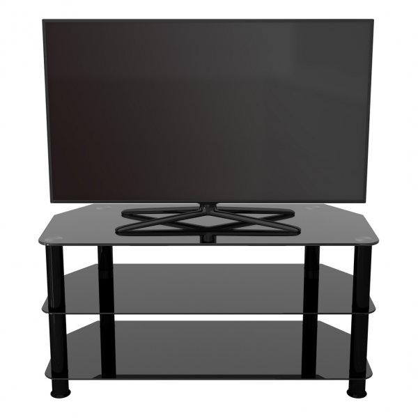 "AVF Universal Black Glass and Black Legs TV Stand For up to 50"" TVs"