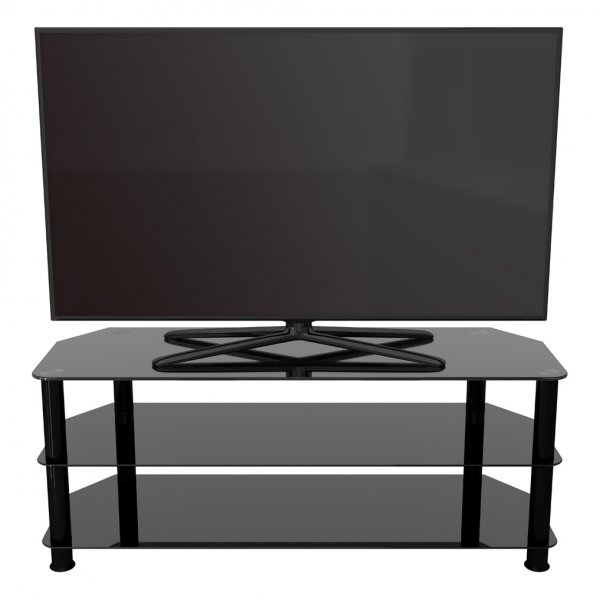"AVF Universal Black Glass and Black Legs TV Stand For up to 60"" TVs"