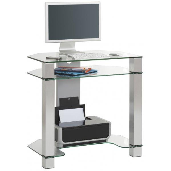 Maja Paris Corner Computer Desk 1651 9499 - Clear Glass/Alu Metal