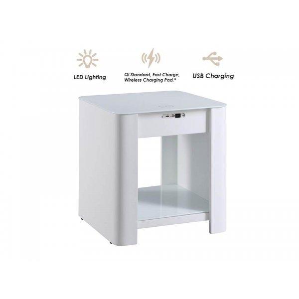 Jual JF405 San Francisco Smart Charging Bedside Lamp Table - White