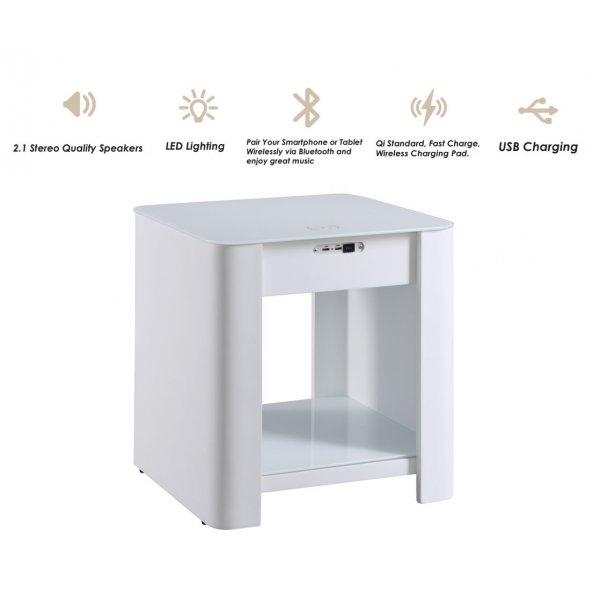 Jual JF406 San Francisco Smart Speaker/Charging Bedside Lamp Table - White