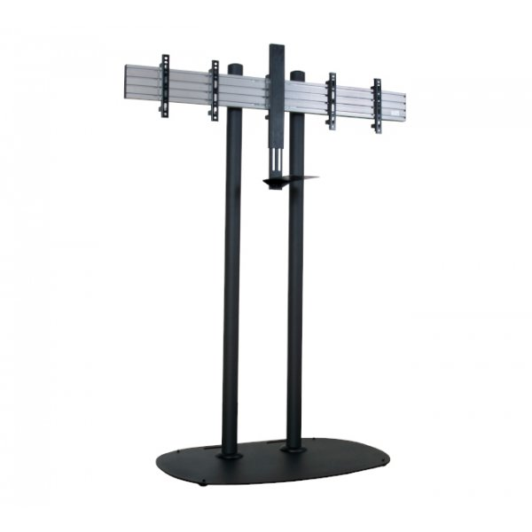 "System X Universal Twin Screen VC Floor Stand for upto 46"" Screens with Webcam Shelf - Chrome - 1.5m"
