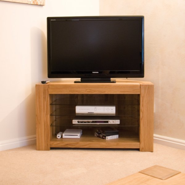 "Oak Corner TV Unit For Up To 47"" TVs"