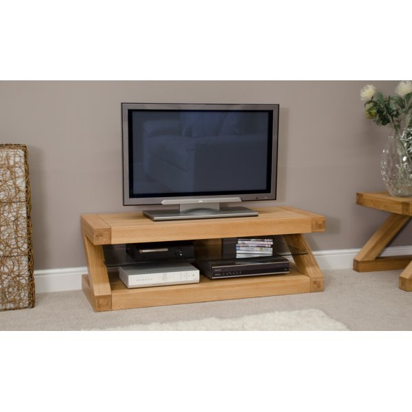 "Solid Oak Z Plasma TV Unit For Up To 60"" TVs"