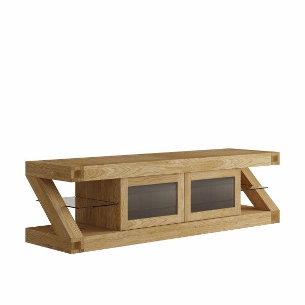 """Solid oak Z Glazed TV Unit For 65\"""" TVs"""