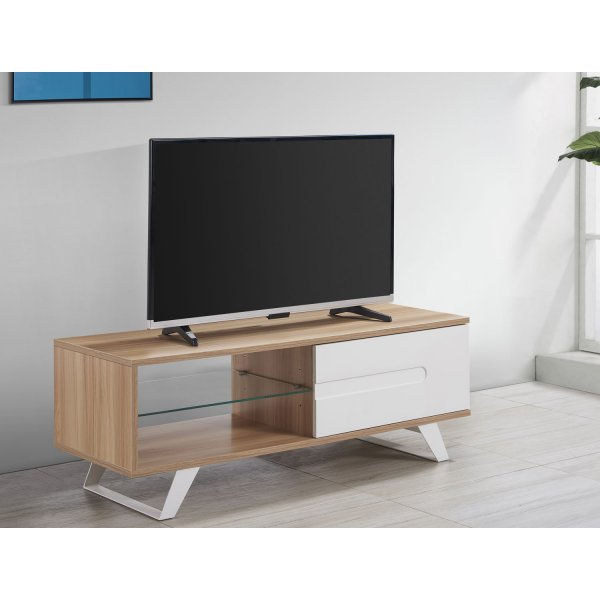 "TNW Miami TV Cabinet Stand with Cupboard for up to 60"" TVs - Oak"