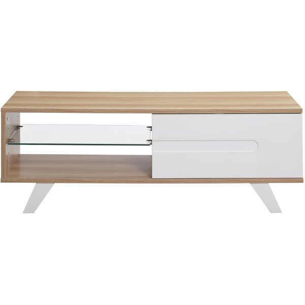 """TNW Miami TV Cabinet Stand with Cupboard for up to 60\"""" TVs - Oak"""