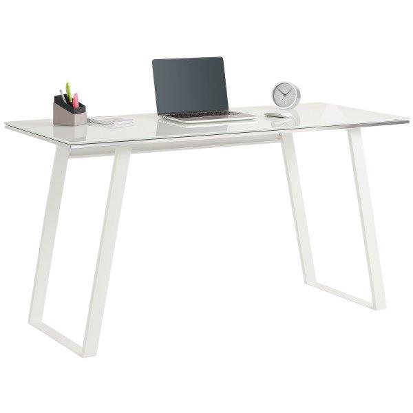 Maja 9525 9746 White Desk with Glass Top